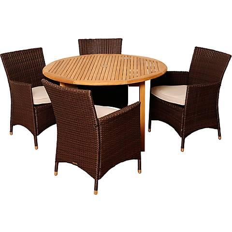 Manson Brown Wicker 5-Piece Round Patio Dining Set