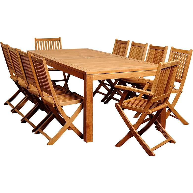 Escuela Teak Wood 11-Piece Rectangular Patio Dining Set