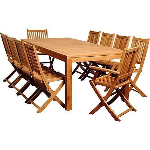Escuela Teak Wood 11-Piece Rectangular Patio Dining Set