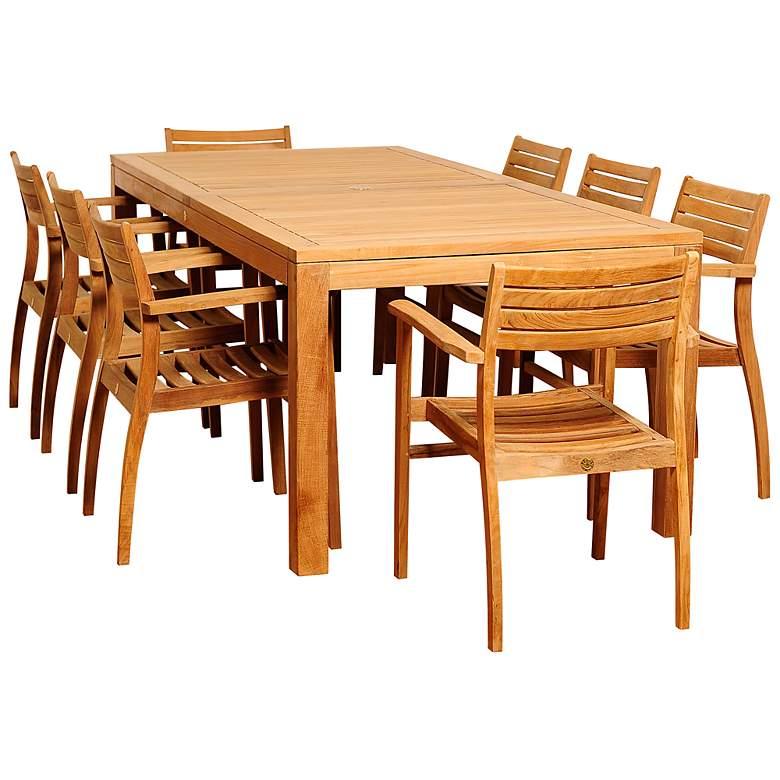 Glenlea Teak Wood 9-Piece Rectangular Patio Dining Set