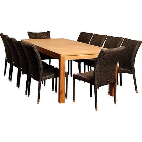 Modesto Distressed Wicker 11-Piece Patio Dining Set
