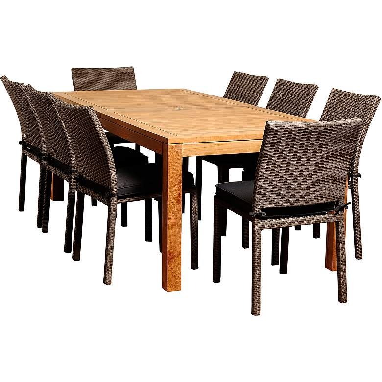 Arroyo Gray Wicker 9-Piece Rectangular Patio Dining Set