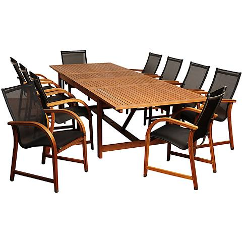 Maui Eucalyptus 11-Piece Extendable Patio Dining Set