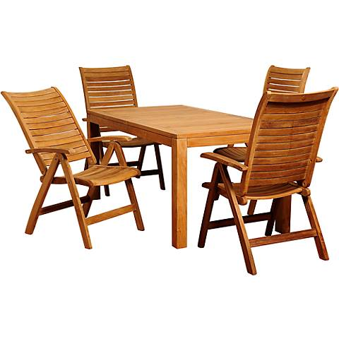 Oleader Teak Wood 5-Piece Rectangular Patio Dining Set