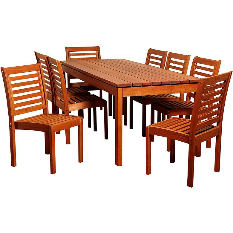 Altura Eucalyptus 9-Piece Rectangular Patio Dining Set