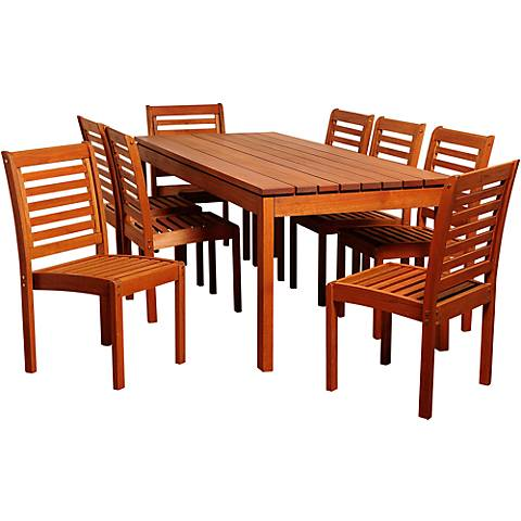 Altura Eucalyptus 9-Piece Rectangular Patio Dining Set
