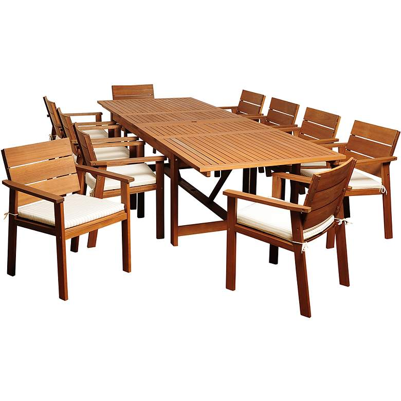 Alonzo Eucalyptus 11-Piece Extendable Patio Dining Set