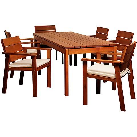 Alonzo Eucalyptus 7-Piece Rectangular Patio Dining Set