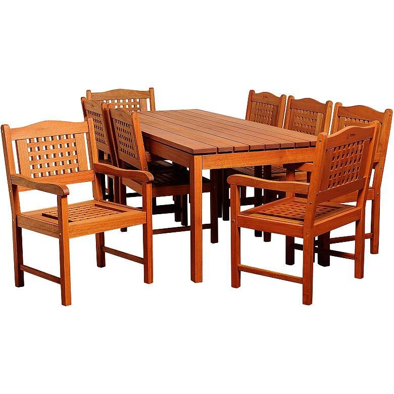 Norfolk Eucalyptus 9-Piece Rectangular Patio Dining Set
