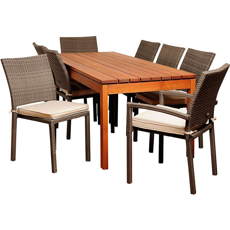 Varennes Gray Wicker 9-Piece Outdoor Patio Dining Set