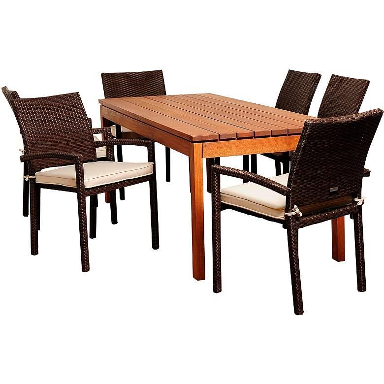 Marguerita Brown Wicker 7-Piece Rectangular Patio Dining Set