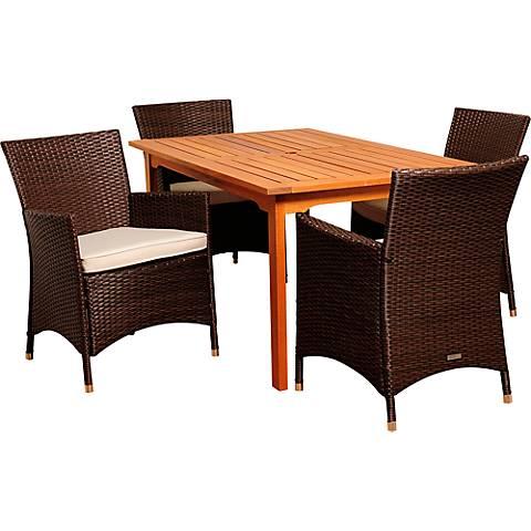 Lucroy Brown Wicker 5-Piece Rectangular Patio Dining Set