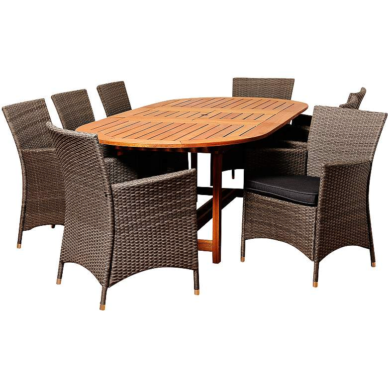 Despenser Gray Wicker 9-Piece Oval Table Patio Dining Set