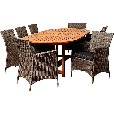 Despenser Gray Wicker 9-Piece Oval Table Patio Dining Set