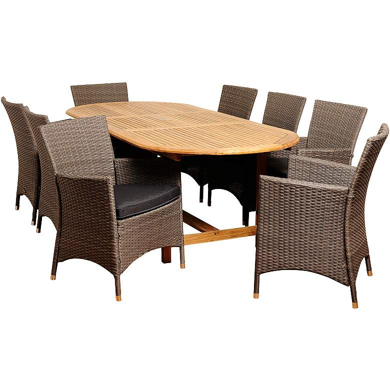 Masson Wicker 9-Piece Extendable Oval Patio Dining Set