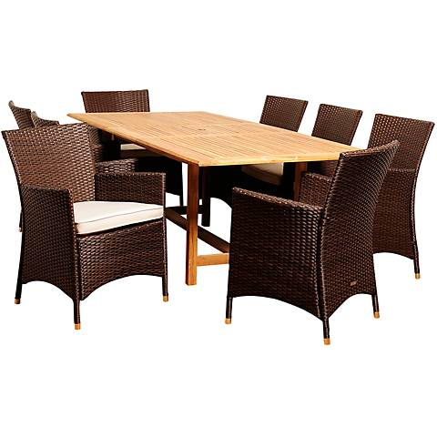 Masson Wicker 9-Piece Extendable Patio Dining Set
