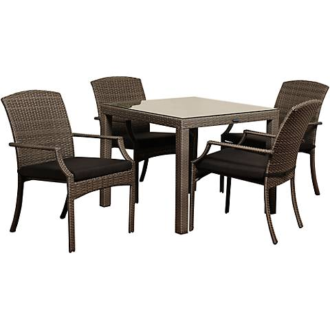 Point Loma Gray Wicker 5-Piece Square Patio Dining Set