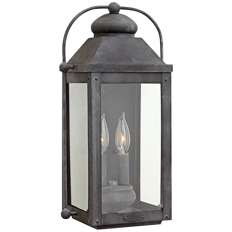 """Anchorage 9 1/4""""W Aged Zinc Two Candle Outdoor Wall Light"""