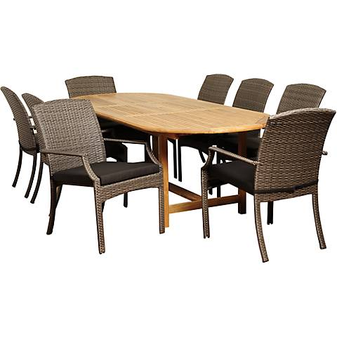 Sorrento Gray Wicker 9Piece Extendable Oval Patio Dining Set