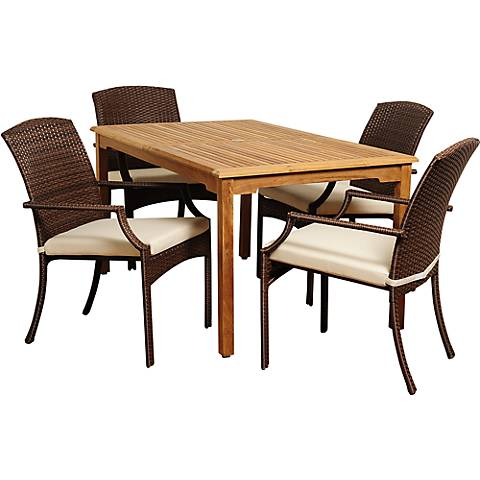 Urbino Wicker 5-Piece Rectangular Patio Dining Set