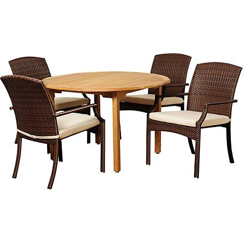 Urbino Wicker 5-Piece Round Patio Dining Set