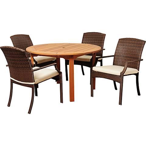 Via Segundo Brown Wicker 5-Piece Round Patio Dining Set