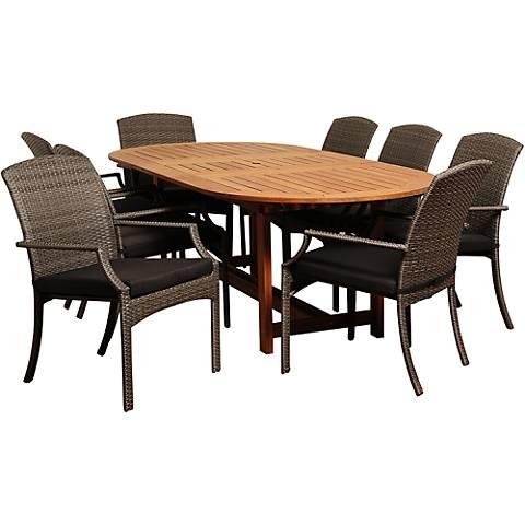 Via Segundo Gray Wicker 9-Piece Oval Patio Dining Set