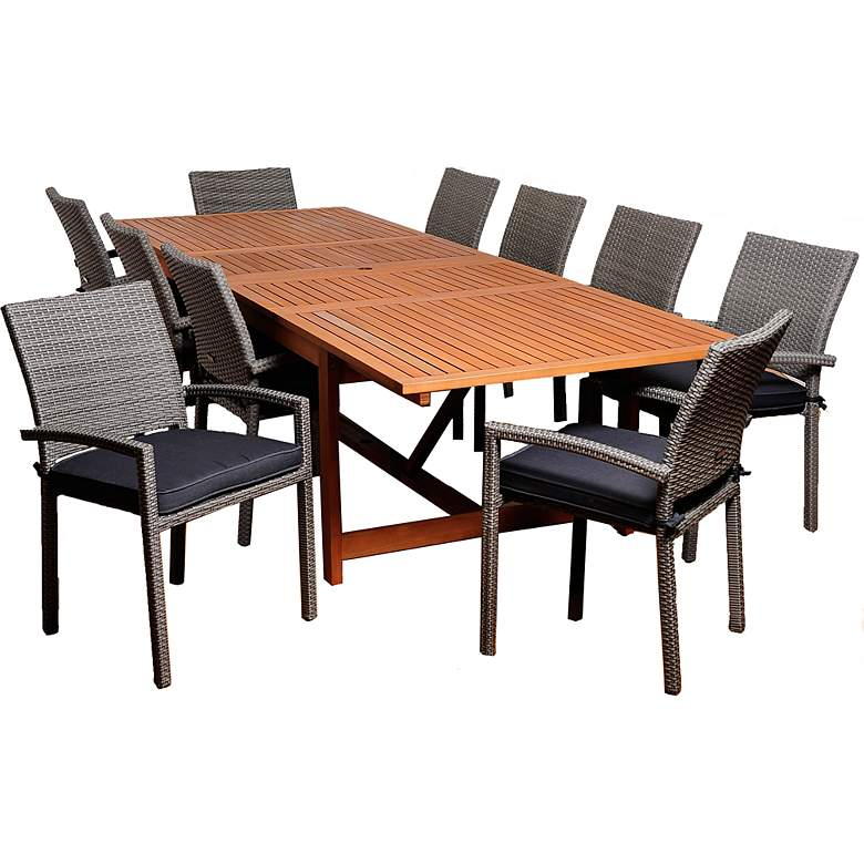 Windmere Gray Wicker 11-Piece Extendable Patio Dining Set