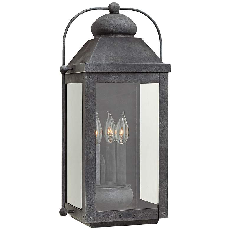 """Anchorage 9 1/4"""" Wide Aged Zinc 3 Candle Outdoor Wall Light"""