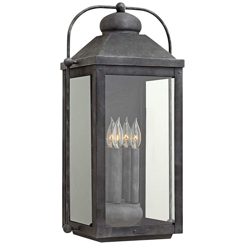 """Anchorage 9 1/4"""" Wide Aged Zinc 4 Candle Outdoor Wall Light"""