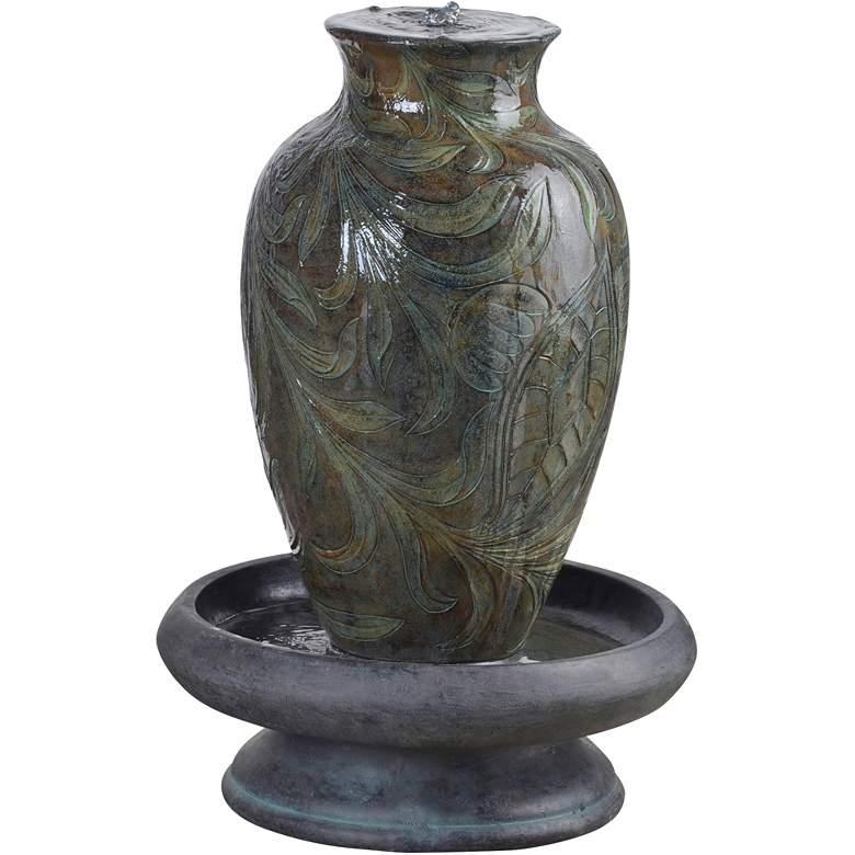 """Brielle 29 1/2"""" High Engraved Urn Bubbler Patio Fountain"""