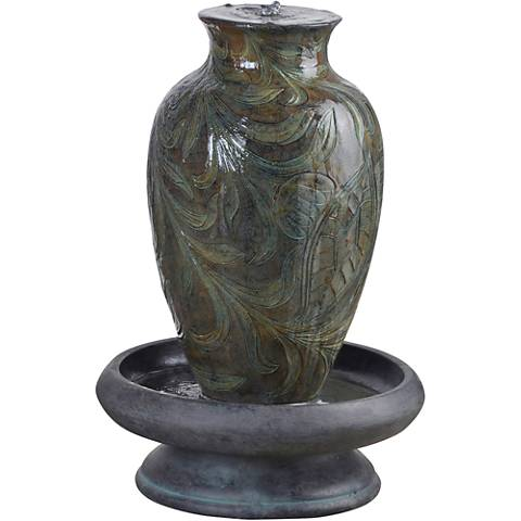 "Brielle Engraved Relief 29 1/2"" High Urn LED Fountain"