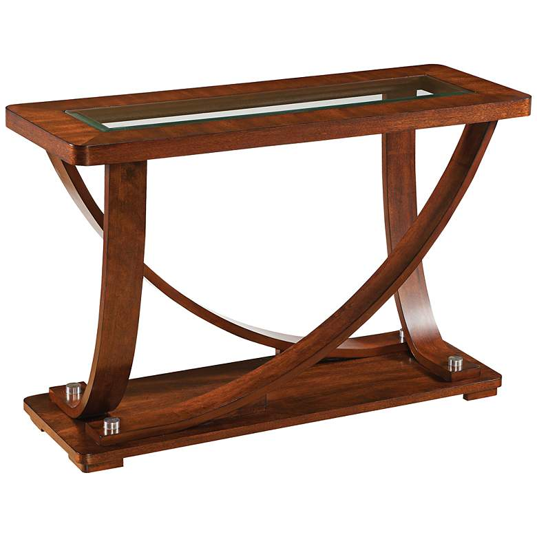 "Pavilion Okoume 46"" Wide Brown Rectangular Sofa Table"