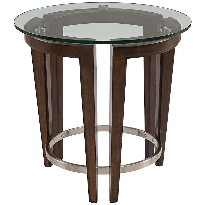 """Carmen 24"""" Wide Hazelnut Wood and Glass Round End Table"""