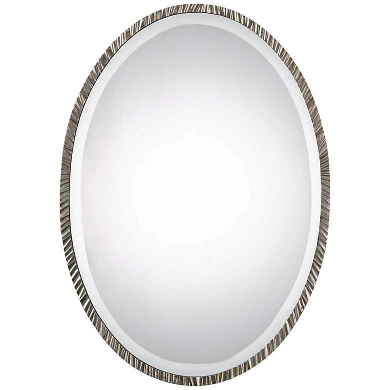 "Uttermost Annadel Polished Nickel 20"" x 28"" Oval Wall Mirror"
