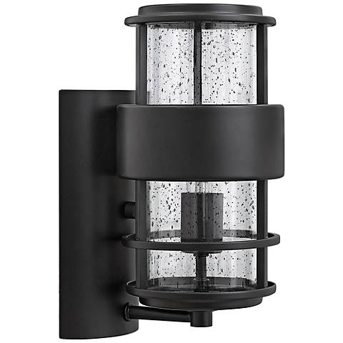 "Hinkley Saturn 6"" Wide Satin Black Outdoor Wall Light"