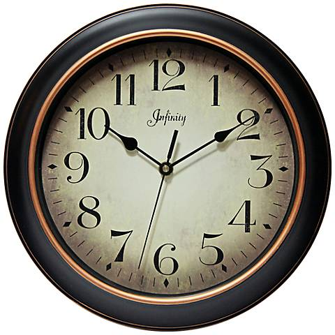 "Hanover 12"" Round Antique Black Wall Clock"