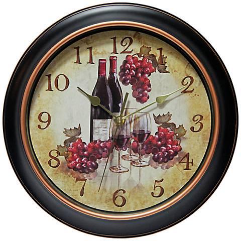 "Valencia 12"" Round Red Wine Wall Clock"