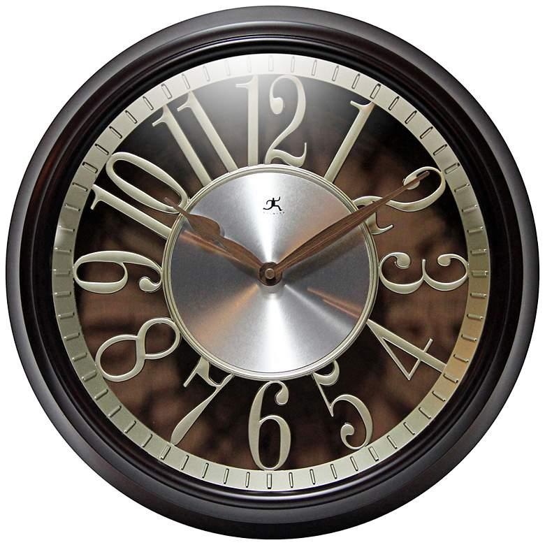"Leeds Walnut 15"" Round Die-Cut Wall Clock"