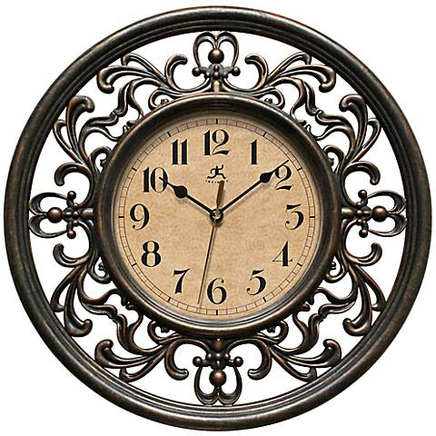 """Sofia 12"""" Round Antique Bronze Wall Clock"""