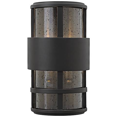 "Hinkley Saturn 7 1/4""W Satin Black Outdoor Pocket Wall Light"