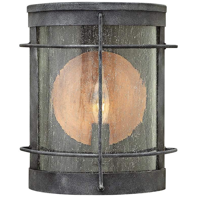 "Hinkley Newport 7"" Wide Aged Zinc Outdoor Pocket Wall Light"