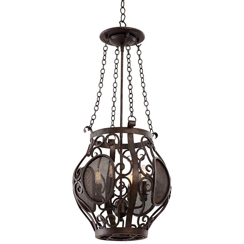 "Isabel Oxidized Copper 14 1/2"" Wide 4-Light Lantern Pendant"