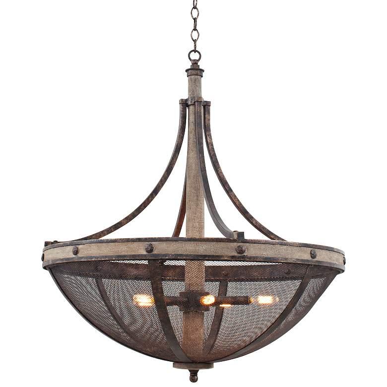 "Coronado Florence Gold Wrought Iron 31""W 6-Light Pendant"
