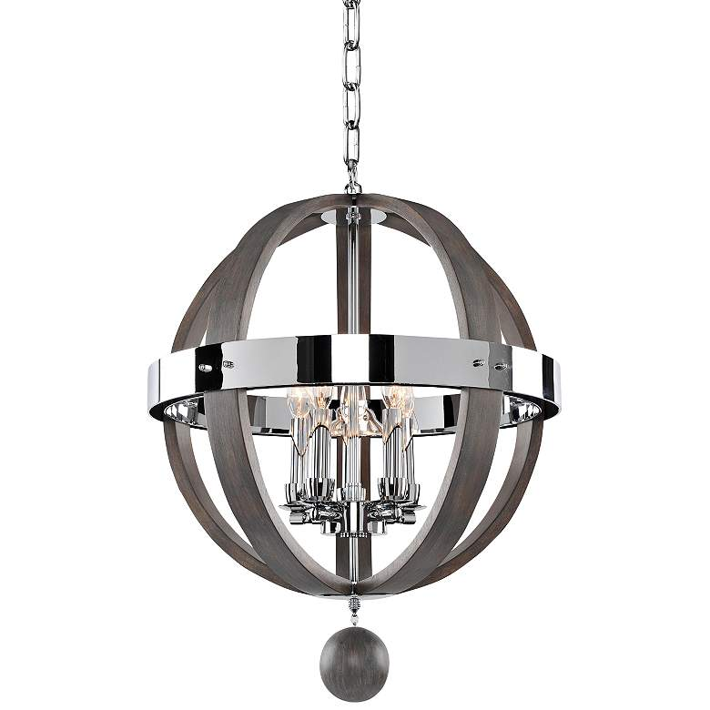 """Sharlow Charcoal and Silverleaf Glass 19""""W 5-Light Pendant"""