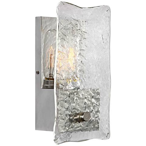 "Uttermost Cheminee 11 3/4""H Thick Slump Glass Wall Sconce"