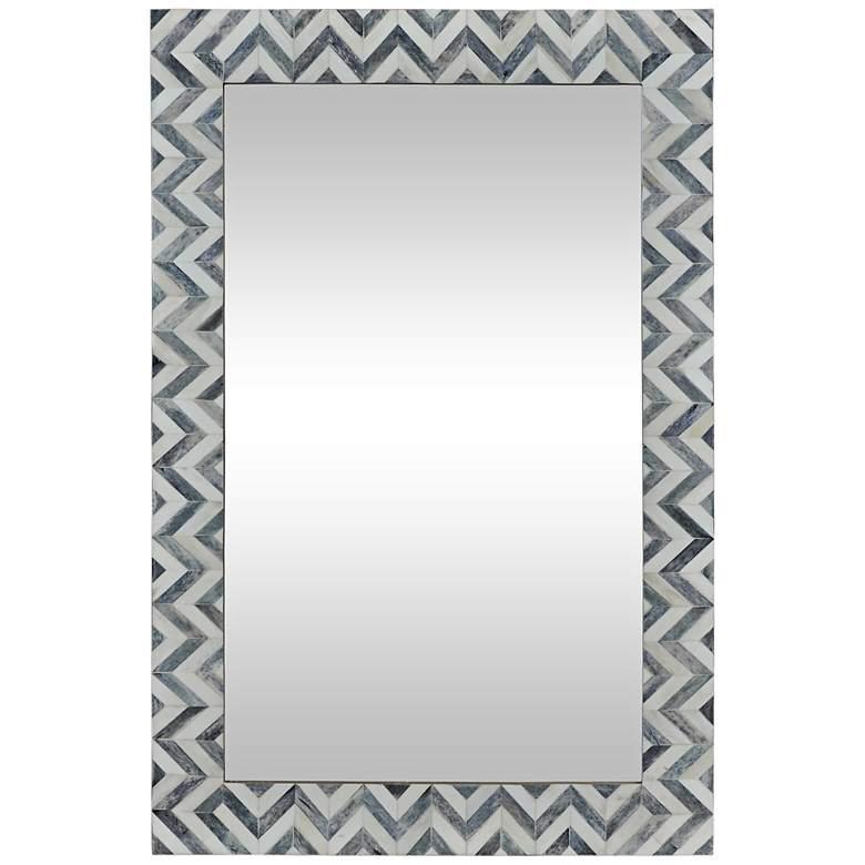 "Abscissa Gray Chevron 24"" x 36"" Rectangular Wall Mirror"