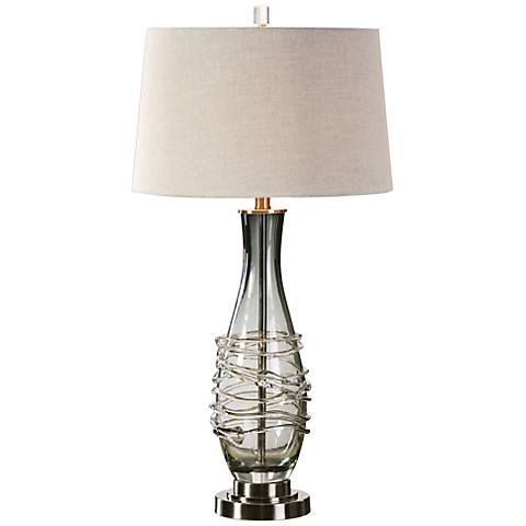 Uttermost Durazzano Charcoal Gray Glass Table Lamp