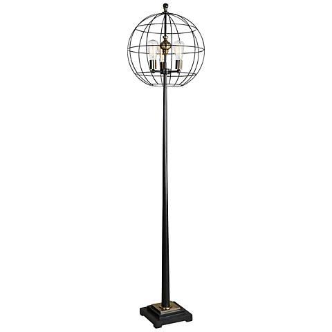 Uttermost Palla Aged Black Tapered Metal Floor Lamp