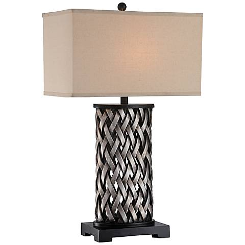 Lite Source Sadler Woven Aged Silver Table Lamp